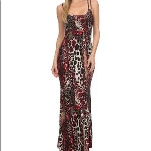 New S Twelve animal print beaded maxi dress